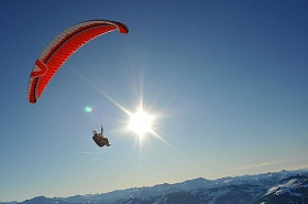 Paragliding within the Kitzbüheler Alps...